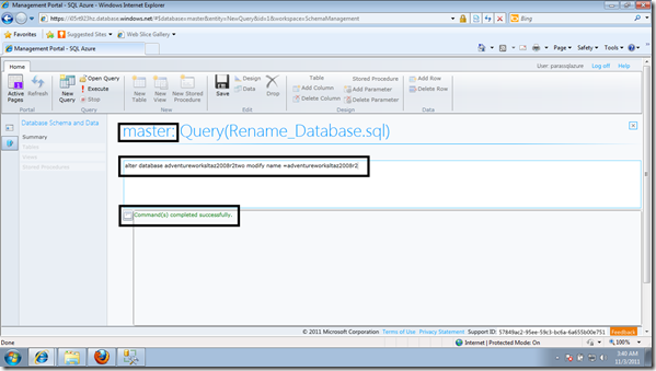 rename database SQL Azure