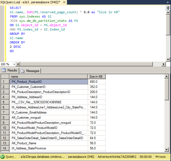 SQL Azure Findding size of Indexes
