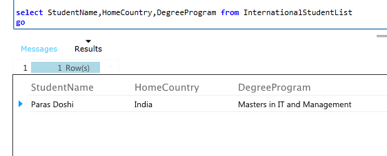 SQL Azure Result of a SQL select command