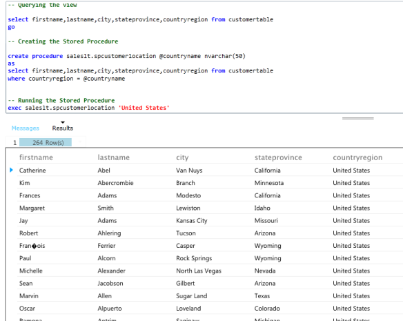 running the sql azure stored procedure
