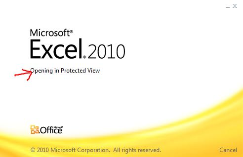 excel opening in protected view message