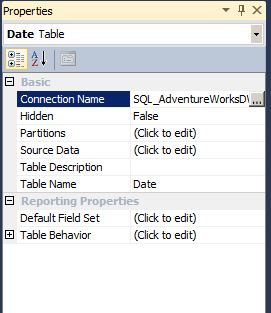 properties windows table sql server 2012 tabular mode analyis services