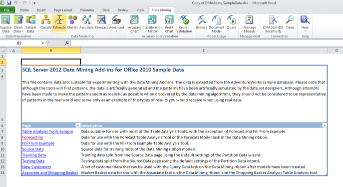 data mining excel add in sample data
