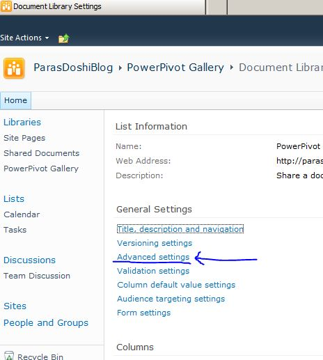 Power Pivot Document library advanced settings