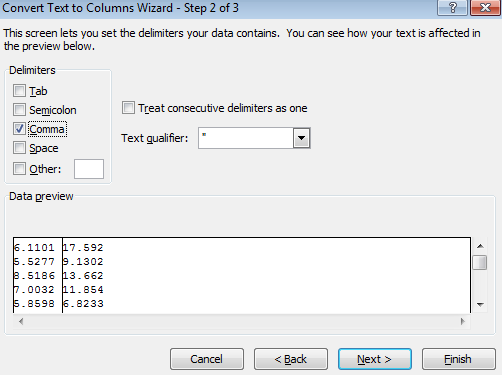 split an excel columns tab semicolon comma space user defined