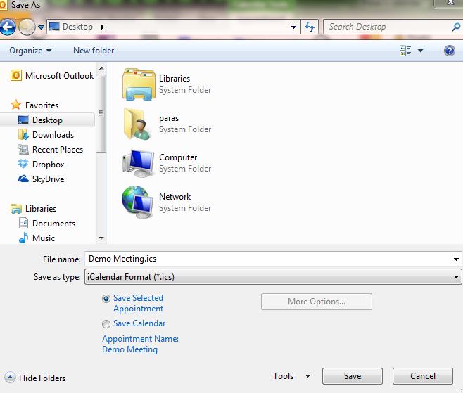 how to create an ics file