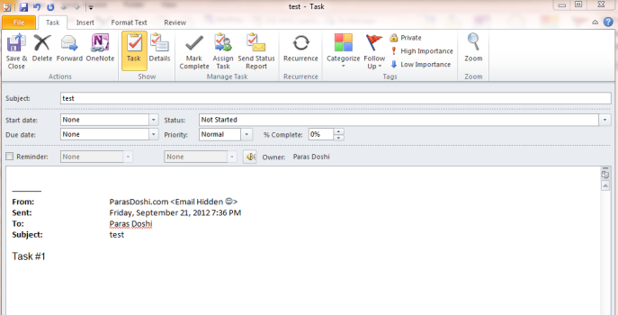 outlook emails to tasks to do