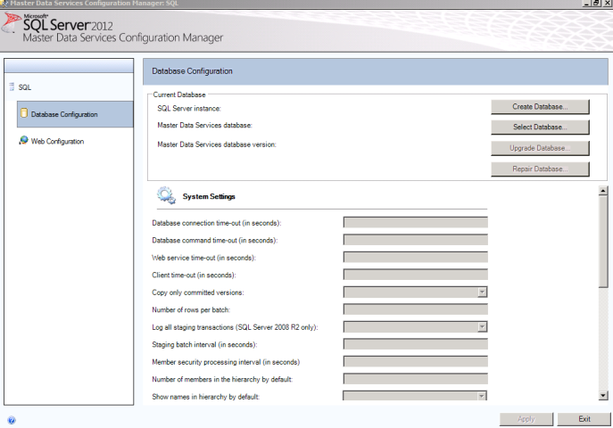 SQL Server 2012 Master Data Services MDS create database