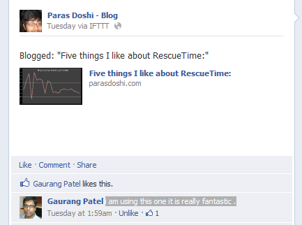 Gaurang Patel on Five Things I like about RescueTime