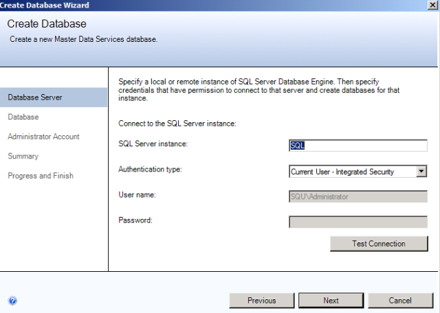 SQL Server 2012 Master Data Services MDS database credentials