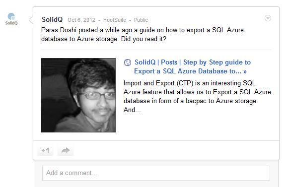 SolidQ shared paras doshi blog on Google plus