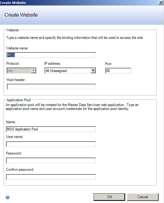 SQL Server 2012 Master Data Services MDS website configuration