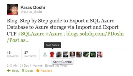 Scott Gu RT'ed Paras Doshi's Tweet