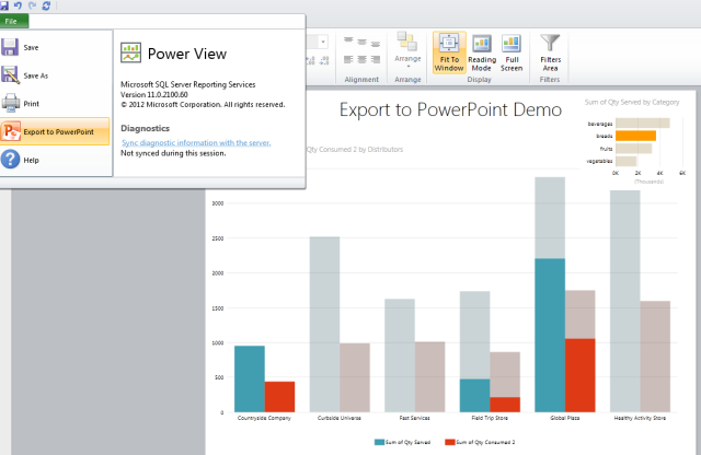 Export Power View reports to PowerPoint 2010 SQL Server 2012