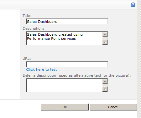 performance point dashboard change tilte and logo input form