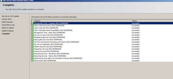 Downloaded and Installed the SQL Server 2012 SP1