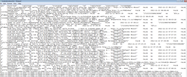 1500 tweets R excel tab delimited RStudio code