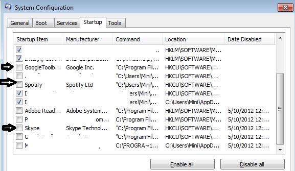 disable startup programs msconfig windows 7