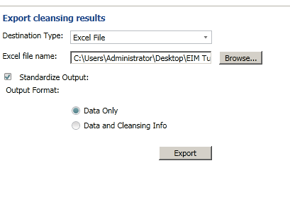 export the cleansing results to an 64 bit version of the excel file.