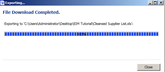 export the cleansing results to an 64 bit version of the excel file