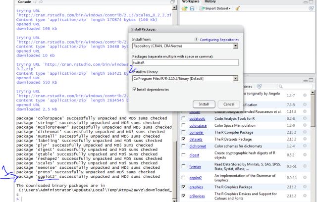 twitteR package R Rstudio windows analytics