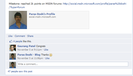 Paras Doshi reached 2000 points on MSDN!