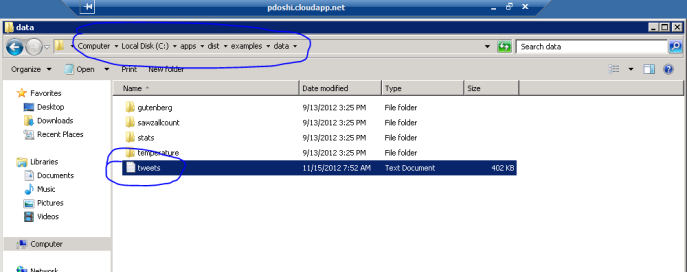 uploading twitter text data to hadoop on azure hdfs cluster