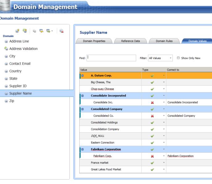 DQS client domain values clean data data quality services