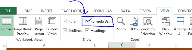 view bar formula bar unhide excel 2013