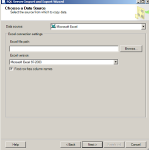 import data ssms sql server import export