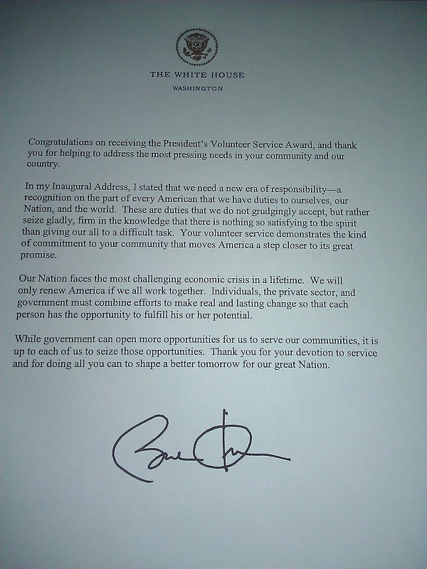 letter from Barack Obama presidents volunteer service award