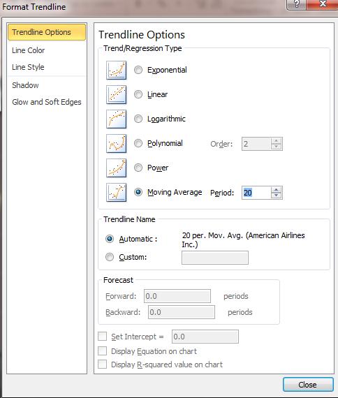 trend line configuration options excel