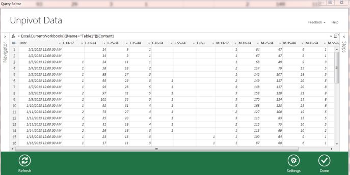 data explorer unpivot excel 2