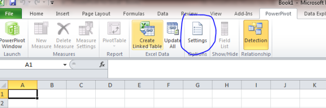 powerpivot settings excel