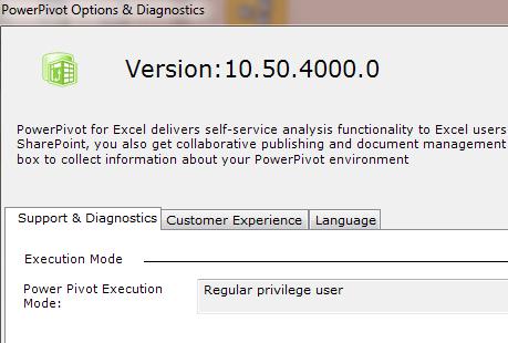 powerpivot version number