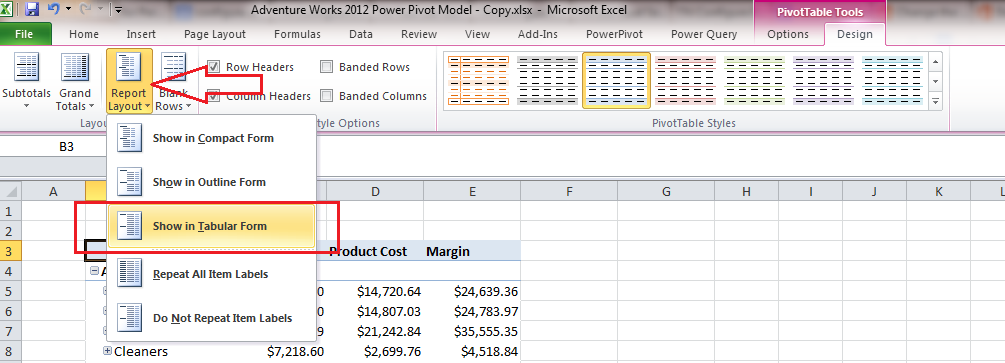 How to change the layout of the Excel Pivot Tables? - Insight ...