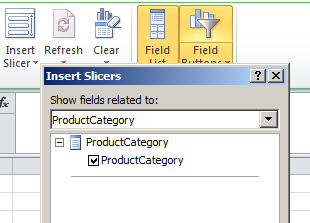 pivot table insert slicers