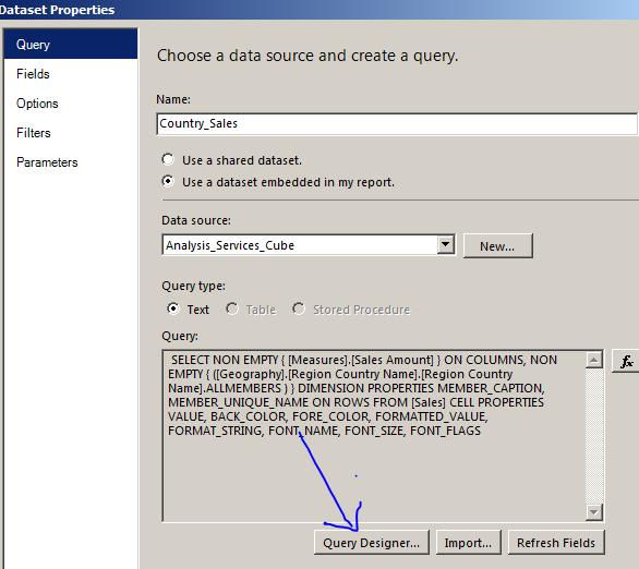 ssrs query designer SQL