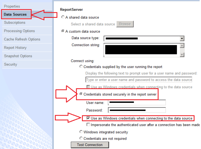 SSRS store credentials in the report server