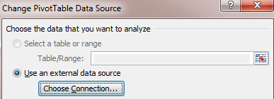 Choose the new data source Pivot Table