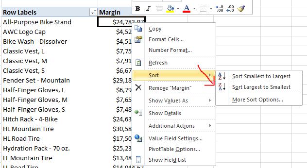 sorting Excel ad hoc report ssas cube