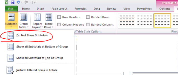 Pivot Tables Sub Totals How to remove