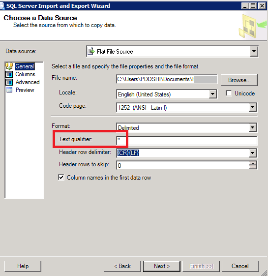 Strip Double Quotes SSMS SSIS Import Wizard