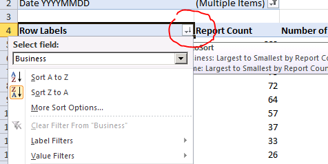 Excel Pivot Table Value Filter