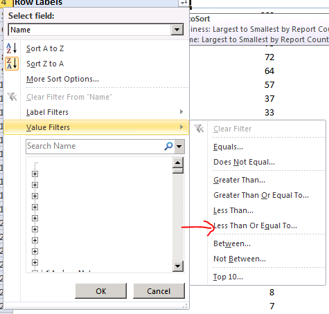 Pivot Table Excel SSAS cube filter values measure