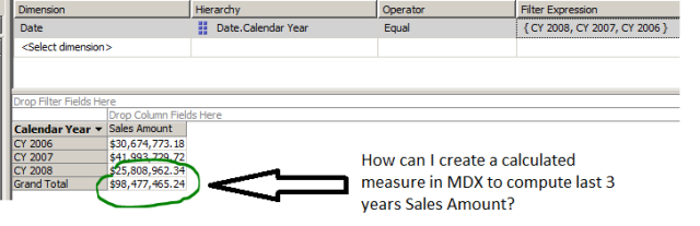 create a calculated measure in MDX to compute last 3 years Sales Amount