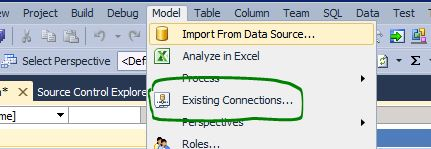 SSAS Tabular model edit query table connection