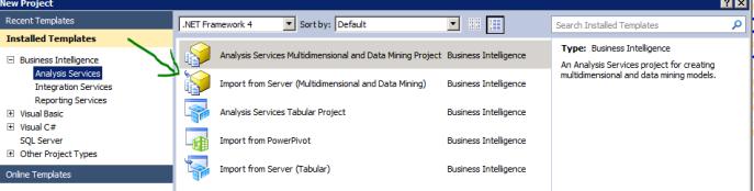 SQL Server Analysis Services Business Intelligence Import