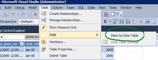SSAS Tabular mark as date table