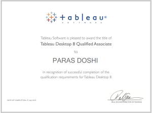 Tableau 8 Qualified associate Certificate paras doshi
